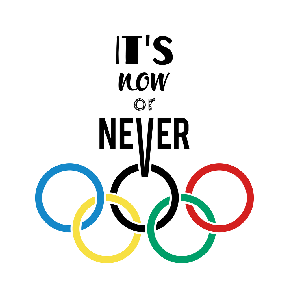 Olympic rings and motivational slogan. Olimpic rings. Olympic card. Eps 10. Vector illustration